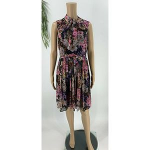 Adrinna Papell Dress Size 8 Black Floral Chiffon